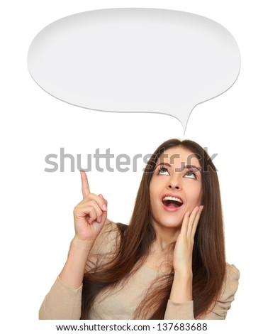 Surprising woman showing hand up on empty bubble space isolated on white background