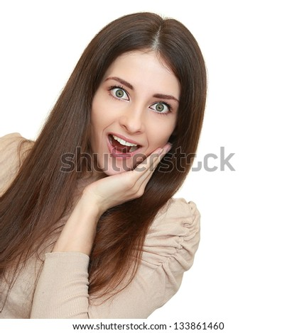 Surprising young woman with opened mouth with empty copy space looking isolated on white background