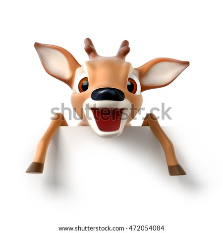 surprized little cartoon deer, 3d render