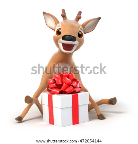 surprized little cartoon deer with a gift, 3d render
