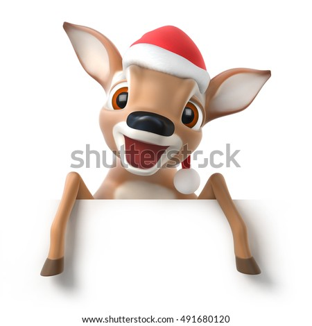 surprized little cartoon deer with a santa hat, 3d render