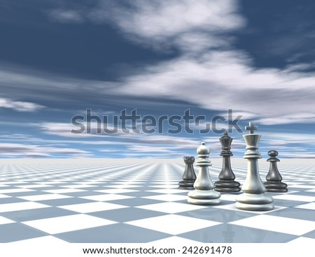 Surreal abstract blue background with chess pieces, chessboard and blue sky with clouds. 3d render with copy space. - stock photo