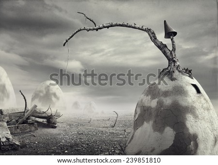 Surreal artistic image of a dirt house black and white - stock photo