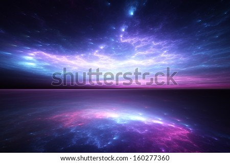 Surreal blue sunset reflected on alien waters - stock photo