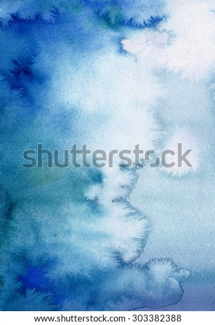 Surreal blue watercolor paint wash on paper. Abstract hand-drawn background for image editing and design - stock photo