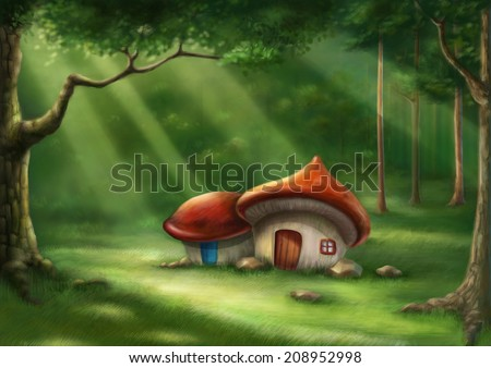 Surreal cartoon wonderland country village, romantic fairy tale forest. Illustration. - stock photo