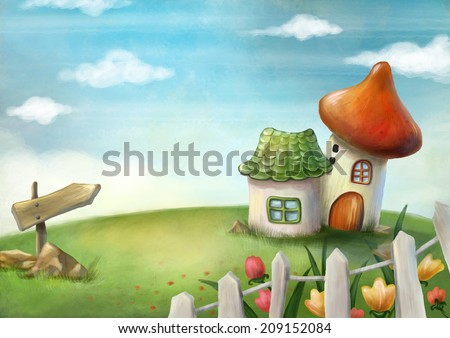 Surreal cartoon wonderland country village, romantic fairy tale landscape. Illustration. - stock photo