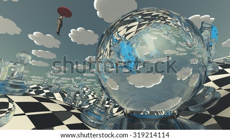 Surreal Chess Landscape with hovering man - stock photo