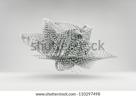 Surreal chrome spheres flying above the floor isolated on white background - stock photo