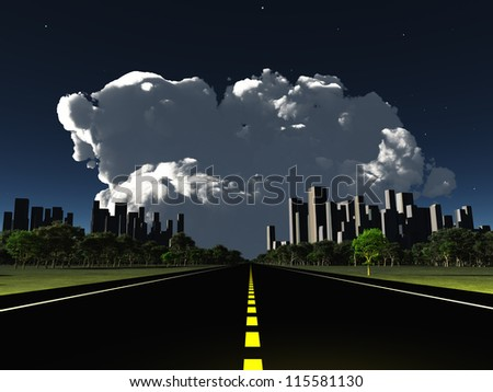 Surreal City night roadway with looming cloud - stock photo