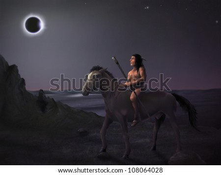 surreal digital painting of a native american man on horseback observing a solar eclipse - stock photo
