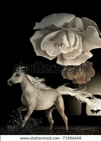 surreal digital painting of a white horse running under wilting white roses in a symbolic representation of time