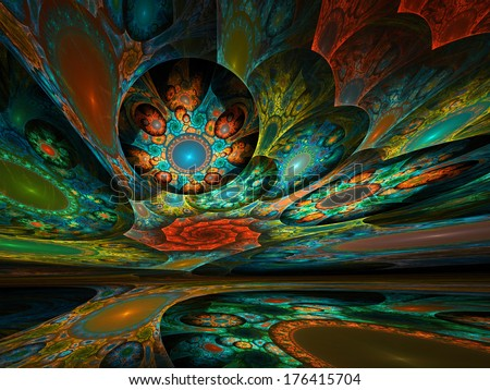 Surreal dream world of intricate fractal patterns colored with brilliant hues - stock photo