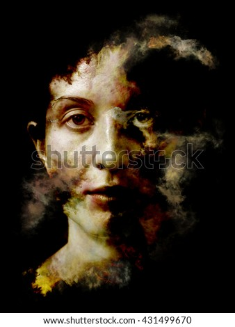 Surreal Dust Portrait series. Abstract design made of fractal smoke and female portrait on the subject of spirituality, imagination and art - stock photo