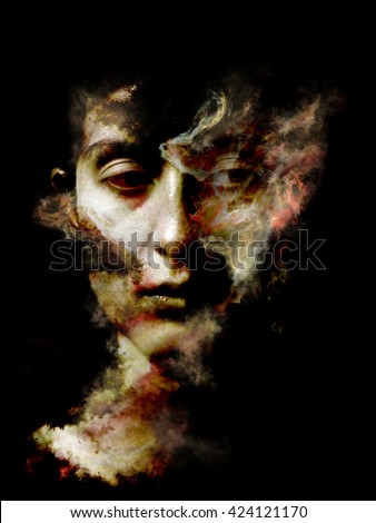 Surreal Dust Portrait series. Background design of fractal smoke and female portrait on the subject of spirituality, imagination and art - stock photo