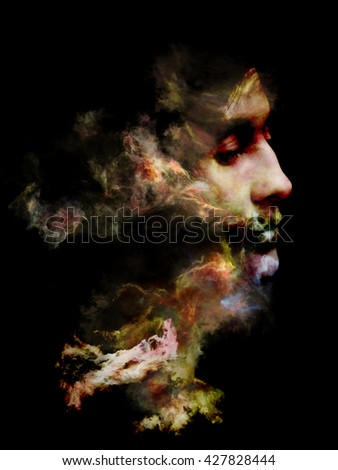 Surreal Dust Portrait series. Background design of fractal smoke and female portrait on the subject of spirituality, imagination and art
