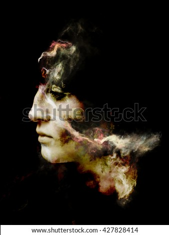 Surreal Dust Portrait series. Composition of fractal smoke and female portrait on the subject of spirituality, imagination and art