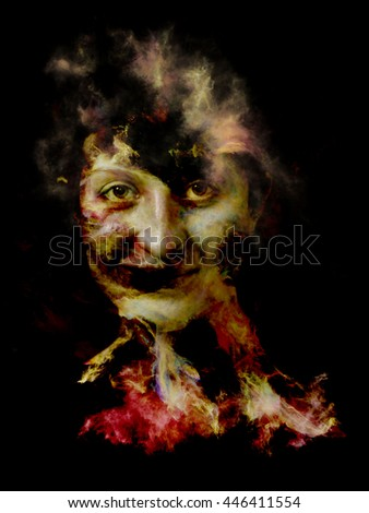 Surreal Dust Portrait series. Interplay of fractal smoke and female portrait on the subject of spirituality, imagination and art - stock photo