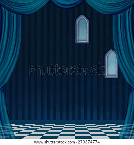 Surreal empty room - stock photo