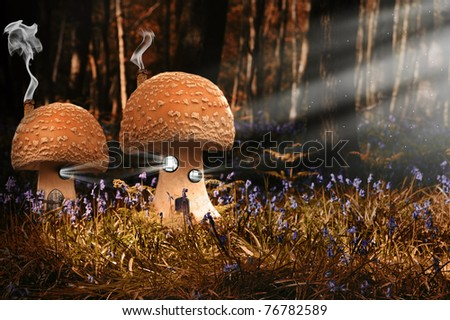 Surreal ethereal image of fantasy mushroom houses in bluebell forest