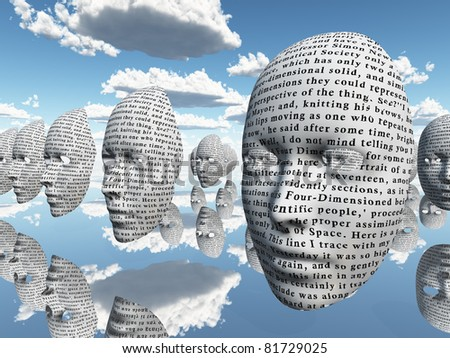 surreal face with text - stock photo