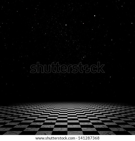 Surreal fantasy landscape of a vast checkered floor with night starry sky. - stock photo