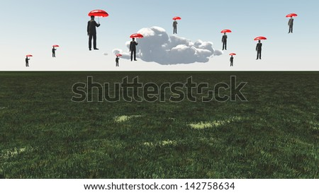 Surreal Floating Men - stock photo