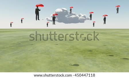 Surreal Floating Men 3D Render - stock photo