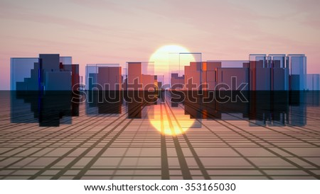Surreal futuristic glass city on a grid horizon in front of a sunset sky. - stock photo