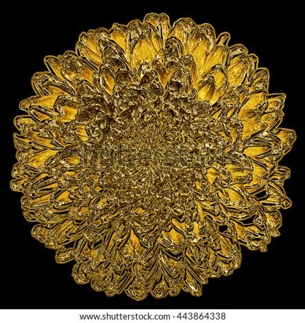 Surreal golden metal chrome dahlia macro isolated on black - stock photo