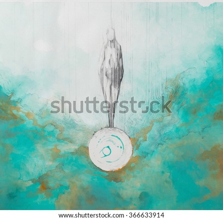 Surreal hand drawing, man silhouette decorative artwork - stock photo