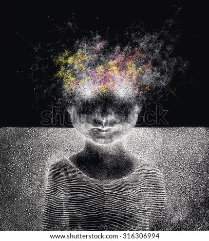 Surreal hand drawing of a boy from stardust decorative artwork - stock photo