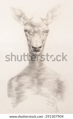Surreal hand drawing of a deer decorative artwork - stock photo