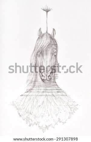 Surreal hand drawing of a horse decorative artwork  - stock photo