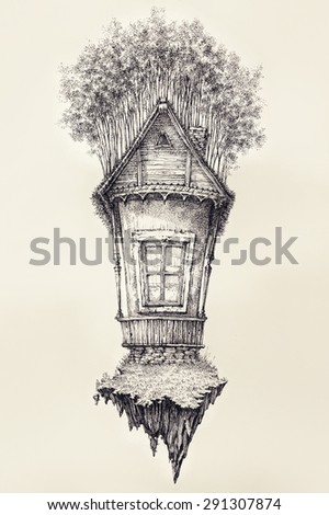 Surreal hand drawing of a small house, decorative artwork - stock photo
