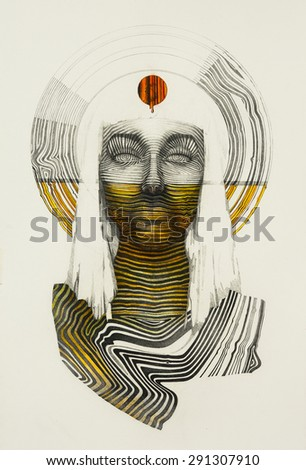 Surreal hand drawing, portrait decorative artwork - stock photo