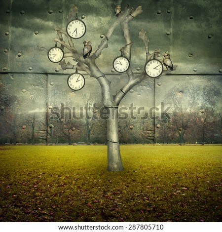 Surreal illustration of many clock and small mechanical owls on a tree and scattered in a mechanic landscape - stock photo