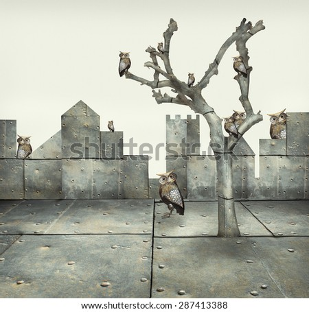 Surreal illustration of many small mechanical owls on a tree and scattered in a mechanic landscape - stock photo