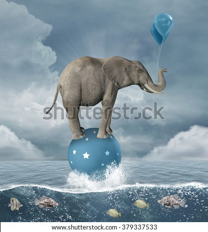 Surreal illustration with elephant in the middle of the sea