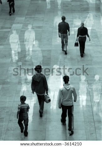 Surreal image of people in shopping mall. Some movement blur with overlaid images.