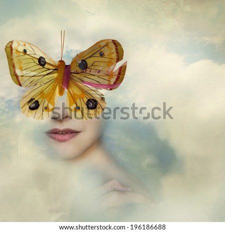 Surreal image representing a female portrait shrouded in the clouds with a butterfly instead of her eyes - stock photo