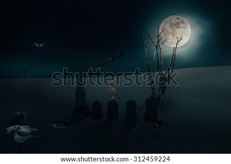 Surreal image with several ominous birds and other elements related to halloween - stock photo