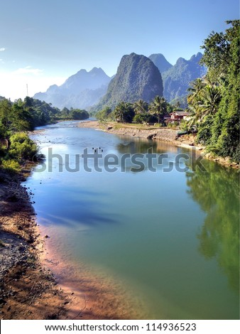 Surreal landscape by the Song river at Vang Vieng