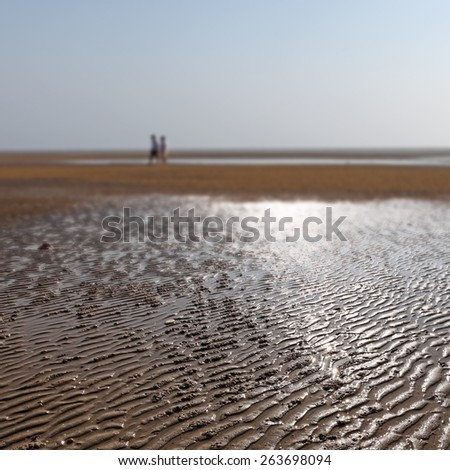 Surreal landscape of a barren seashore at low tide.  - stock photo