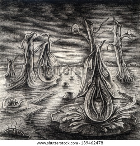 Surreal nature. Drawing on paper.