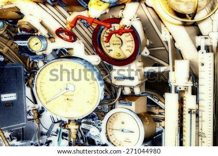Surreal Photography of a Engine Room - stock photo