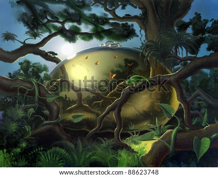 surreal picture painted by me, named Antenatal, showing a jungle ambiance with butterflies in a bubble and chameleons around