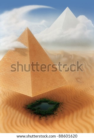 surreal picture painted by me, named Solar Eclipse. It shows a desert scemery with hovering pyramid and other sand and cloud formations