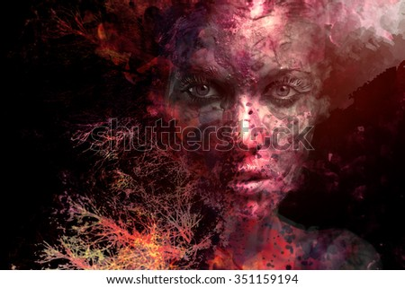 surreal portrait of a young beautiful woman with face paint