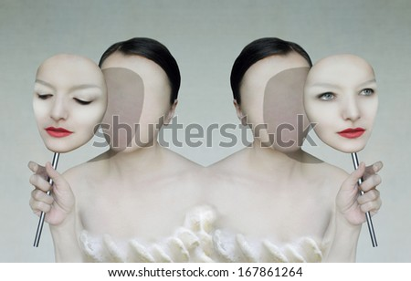 Surreal portrait of two women faceless with her face masks - stock photo